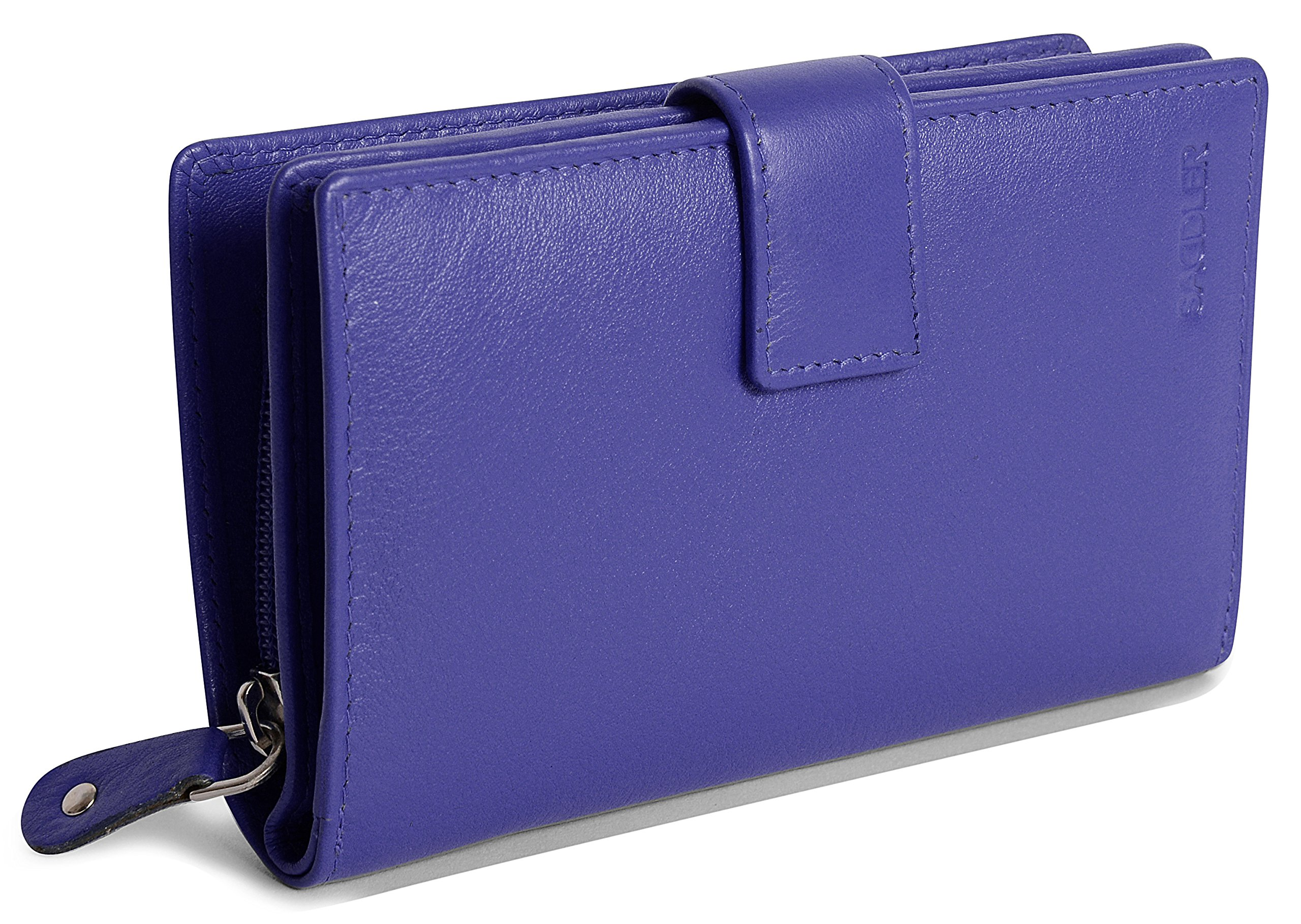 SADDLER Womens Nappa Leather Medium Tab Wallet with Zipper Coin Purse - Ultraviolet