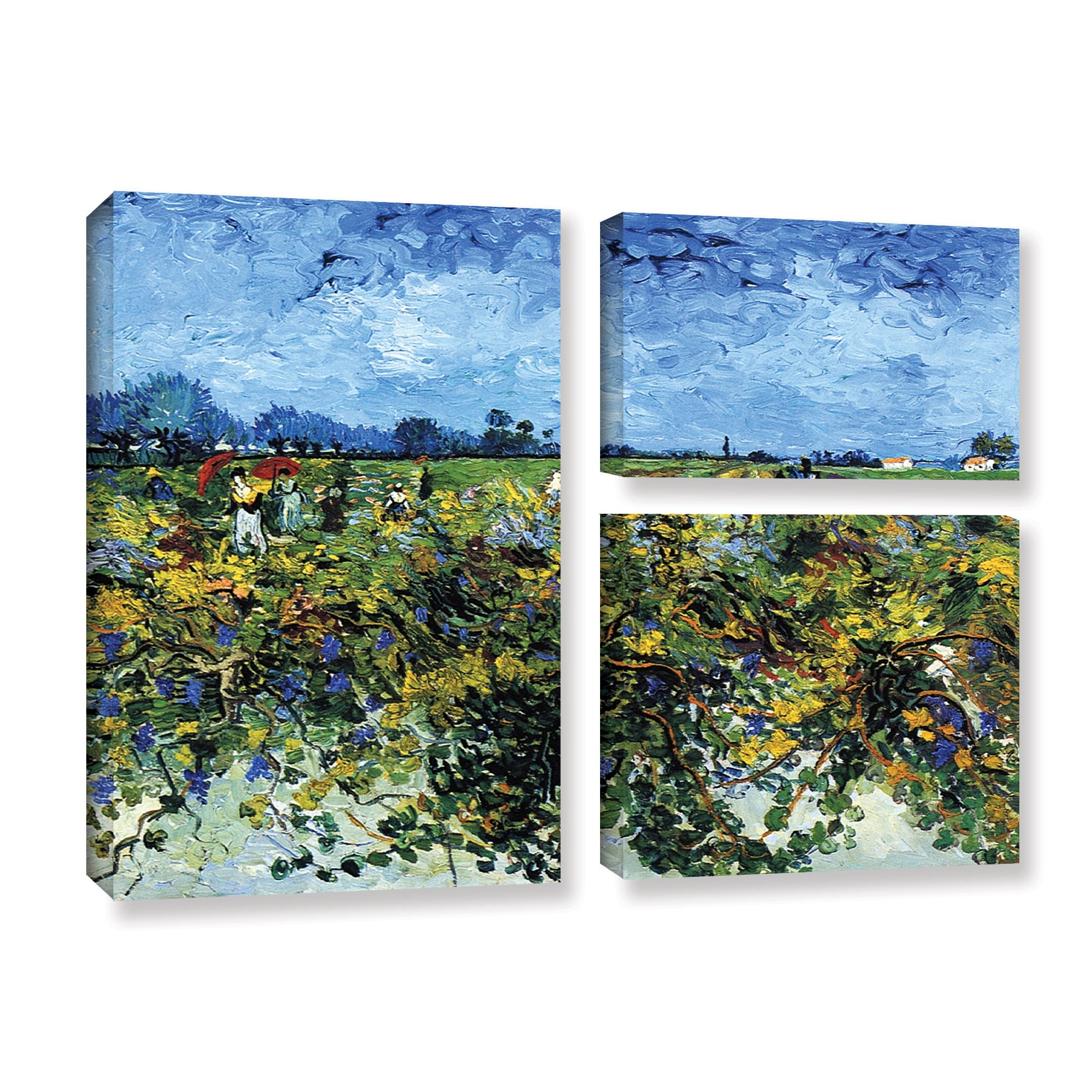 ArtWall 3-Piece Vincent Vangogh's Green Vineyard Gallery Wrapped Canvas Flag Set, 36 by 48-Inch, Multicolor