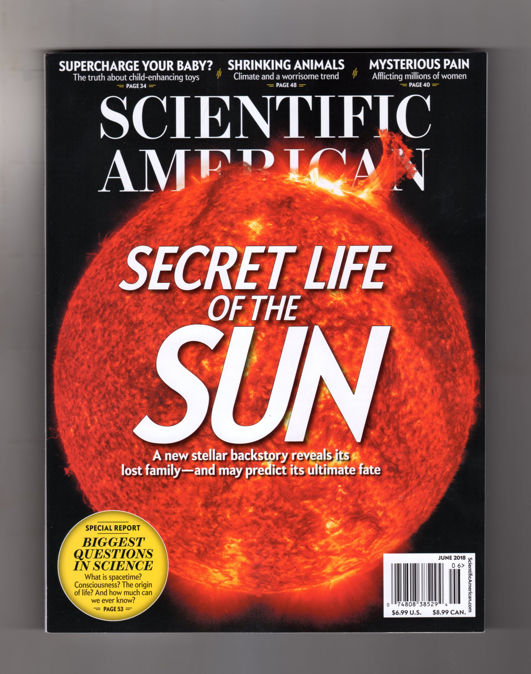 Scientific American Magazine (June, 2018) Secret Life of the Sun Cover pdf epub