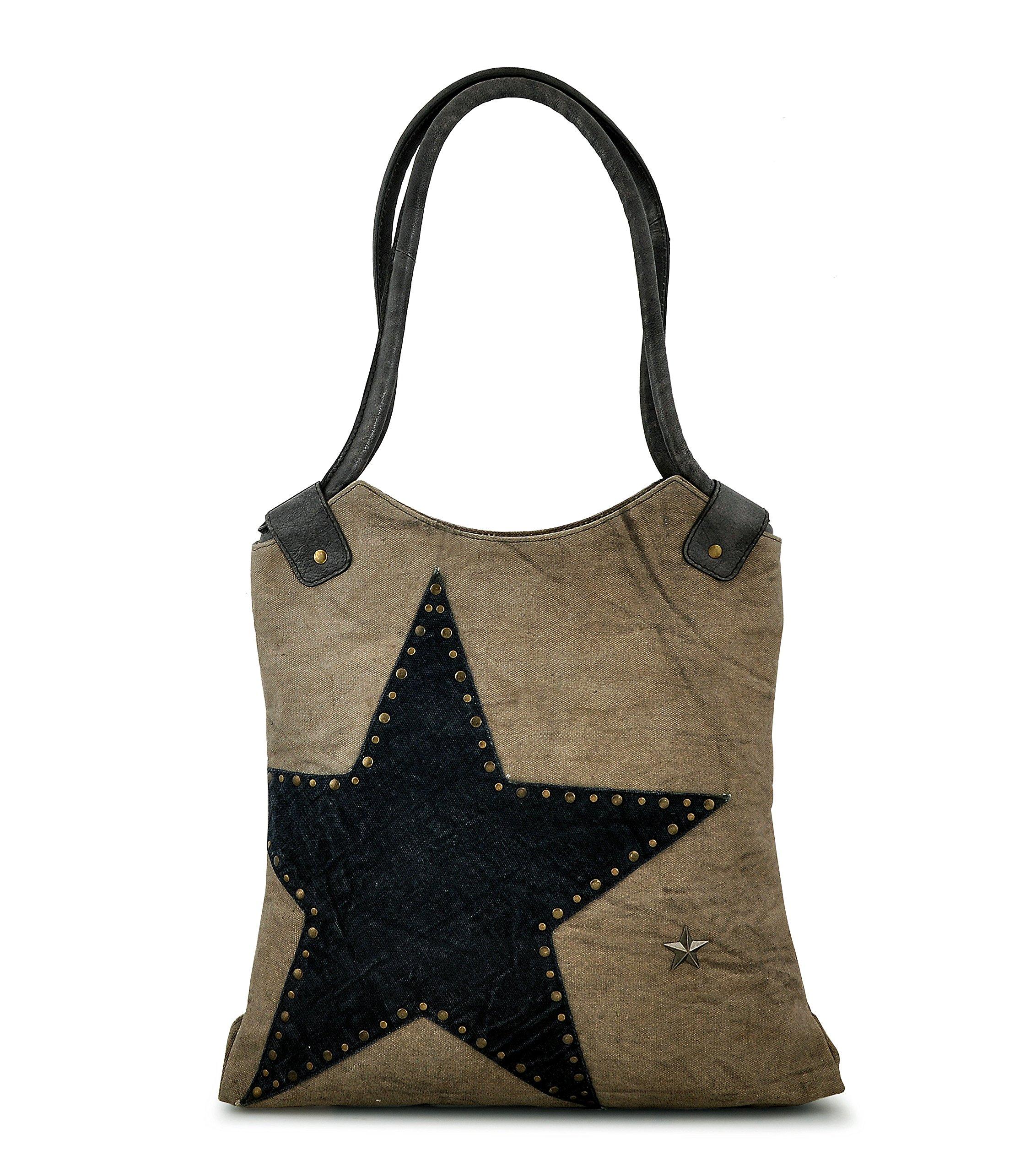 Canvas Tote bag for Women Girls Leather Trims Work Travel Shopper Backpack Cross body Hobo Messenger Shoulder Purse by Daphne (Big Star)