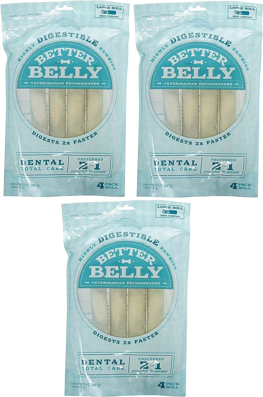 Better Belly Large Dental Rolls 12 Pack 3 Packages, 4 Bones Each