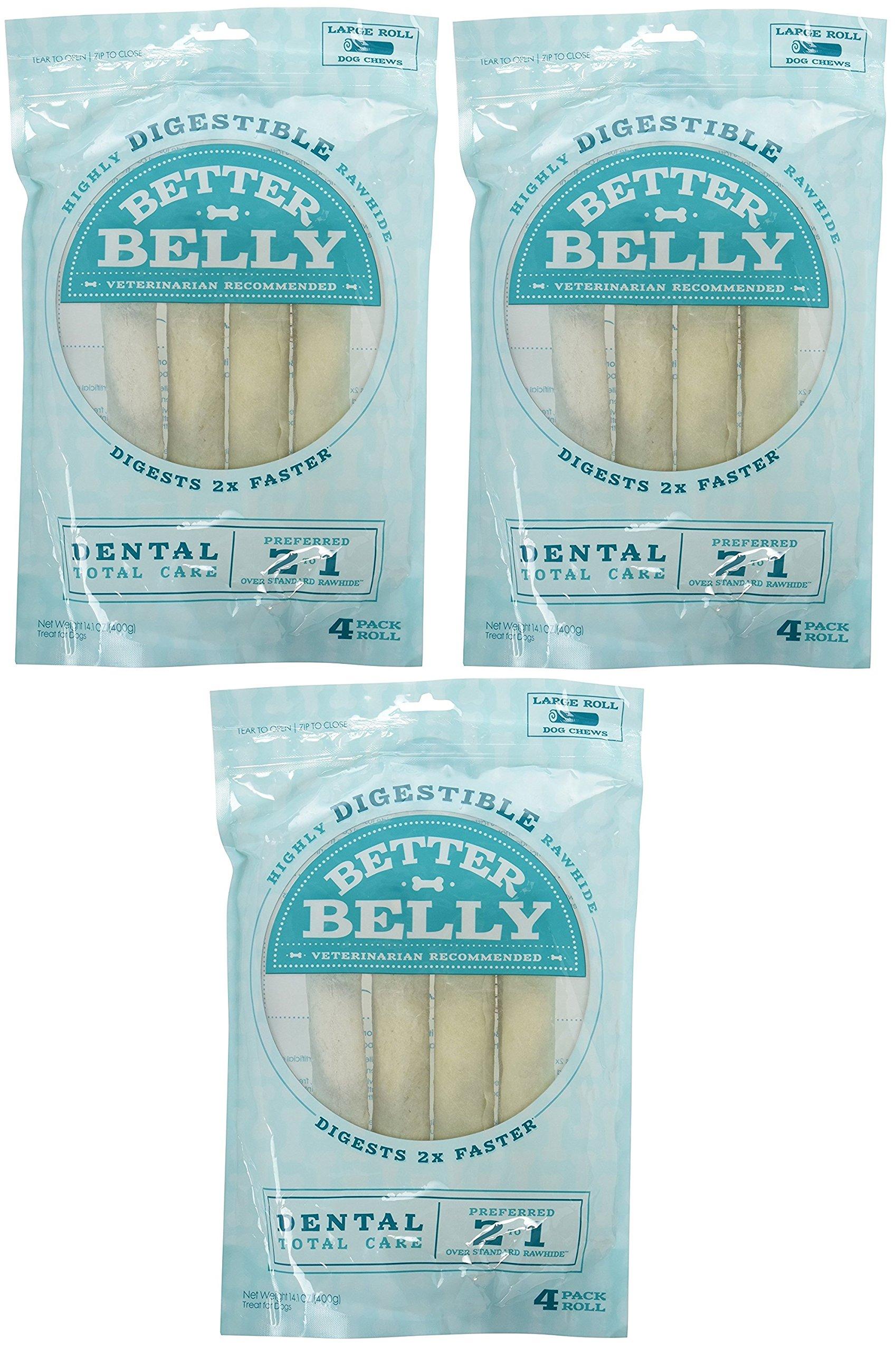 Better Belly Large Dental Rolls 12 Pack (3 Packages, 4 Bones Each)