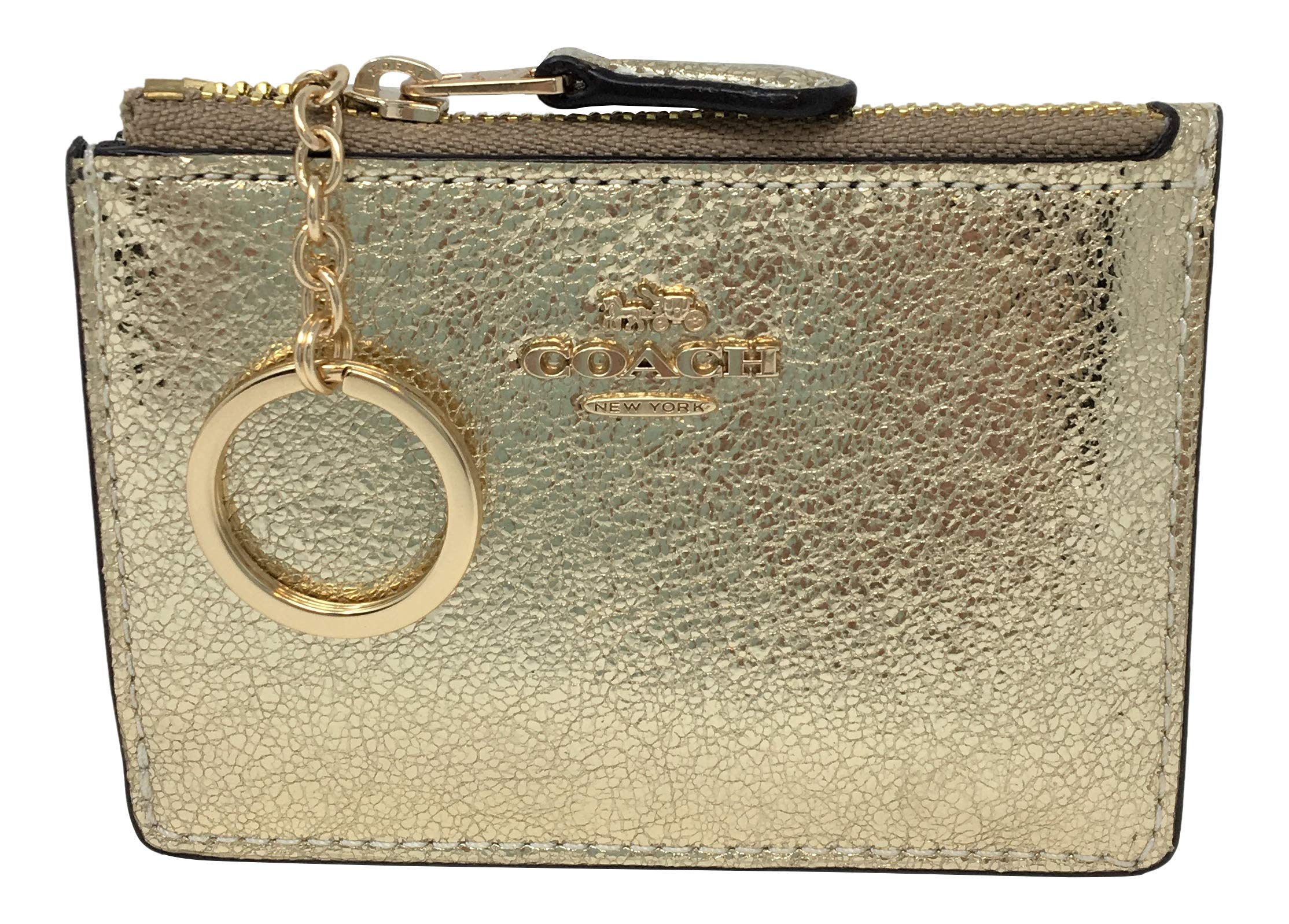 Coach Metallic Mini Skinny ID Card Case White Gold F39065