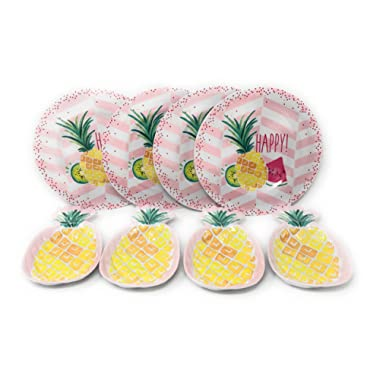 Coastal Living Seascapes Happy Pineapple Round and Pineapple Shaped Melamine Plates, Set of 8