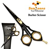 Saaqaans SQR-01 Professional Hairdressing Barber Scissor - High Quality Stainless Steel Sharp Razor Edge 6 inches Hairdresser Shears for Stylish Hair Cutting - Perfect for Hair Salon, Barbers and Home use to Trim your Beard & Moustache - Get Beautiful Black Scissors Pouch / Case absolutely FREE!!