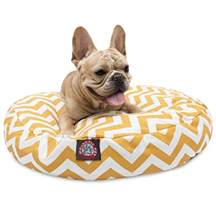 Amazon.com : Yellow Chevron Small Round Indoor Outdoor Pet Dog Bed ...