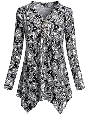 b9378f36098 Hibelle Women's Notch Neck Long Sleeve Floral Printed Pleated Peplum Tunic  Tops at Amazon Women's Clothing store: