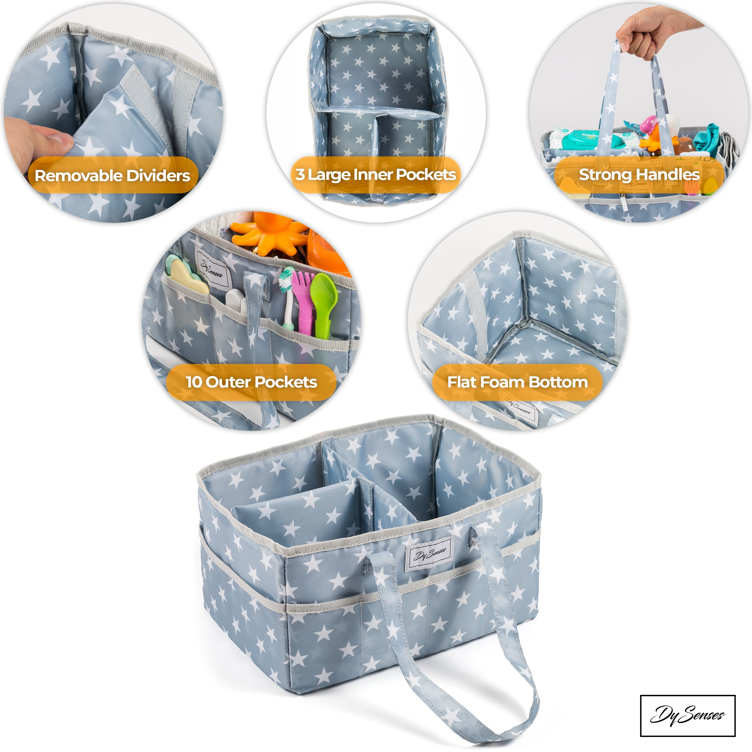 Diaper Storage Caddy Nursery Organizer | Grey Baby Diaper Caddy & Portable Changing Pad | Suitable for Car Travel Picnic & Nursing Station by DySenses (Image #8)