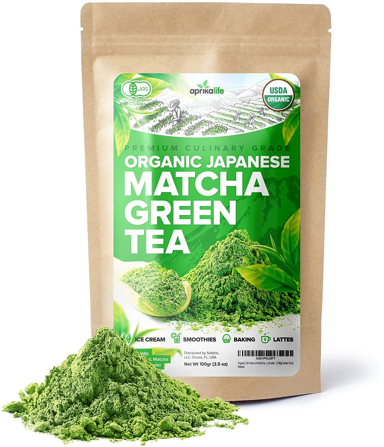 Organic Japanese Matcha Green Tea Powder – USDA & JAS Organic - Authentic Japanese Origin - Premium Culinary Grade - [100g Value Size] Aprika