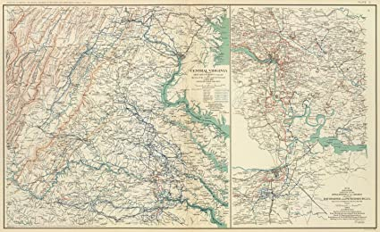 Central Virginia Map.Amazon Com Military Atlas 1895 Central Virginia 1864 1865