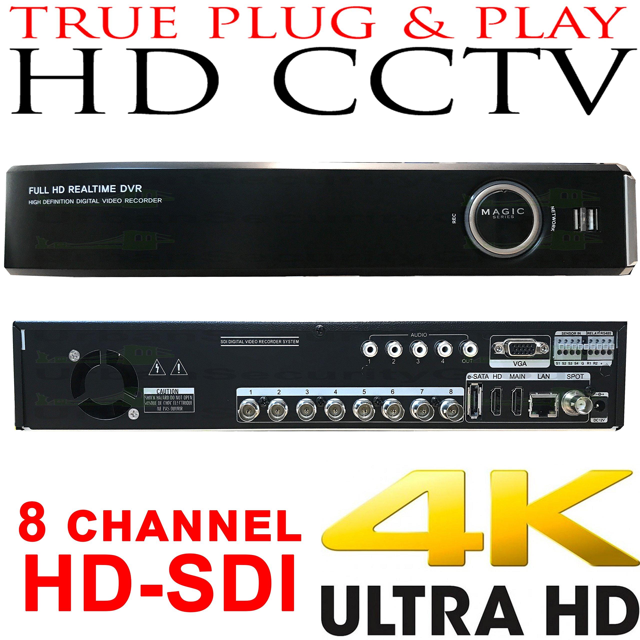 USG Business Grade 4MP 8 Channel HD-SDI Security DVR + 4TB HDD : Up To 4MP Video Resolution, 8x BNC HD Video-In, 2x SATA, USB, 2x HDMI + VGA + Spot BNC, RCA Audio, RS232C, Alarm : Free Phone App
