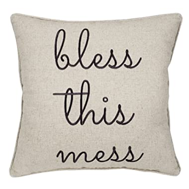 Trivenee Tex Pillowcase Embroidered Be Our Guest Home Bless This Mess Reserved Decorative Throw Pillow Cover Wedding Housewarming Bless This Mess(Natural), 18 X18