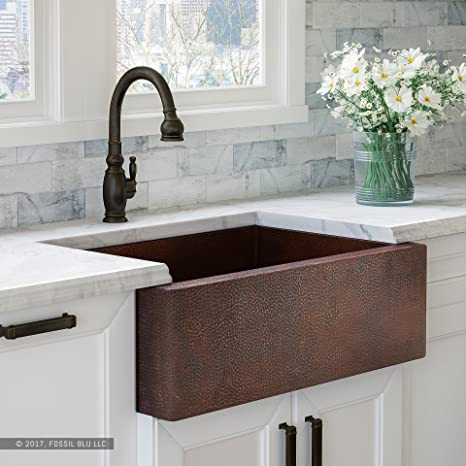 Luxury 33 inch Copper Farmhouse Kitchen Sink, Extra-thick 14-Gauge Pure  Solid Copper, Artisan Hammered Finish, Single Bowl with Flat Front,  includes ...