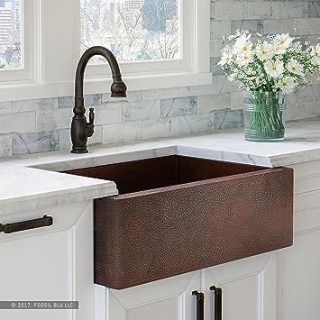 luxury 33 inch copper farmhouse kitchen sink extra thick 14 gauge rh amazon com  hammered copper farmhouse kitchen sinks