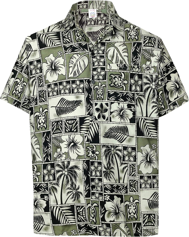 LA LEELA Casual Hawaiana Camisa para Hombre Señores Manga Corta Bolsillo Delantero Surf Palmeras Caballeros Playa Aloha XXL-(in cms):137-149 Halloween Negro_W403