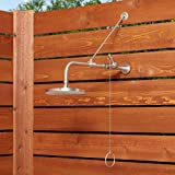 Signature Hardware 401595 Stainless Steel Outdoor Shower Trim with Single Function Shower Head and Pull Chain