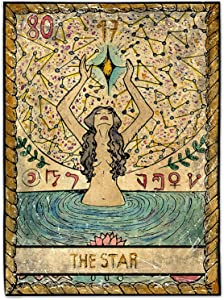 ChouZZ Tarot Tapestry The Moon The Star Wall Hanging Mysterious Tapestry,Horoscopes Yoga Mat Meditation Tapestry Home Decor (The Star, 59 x 40 in)