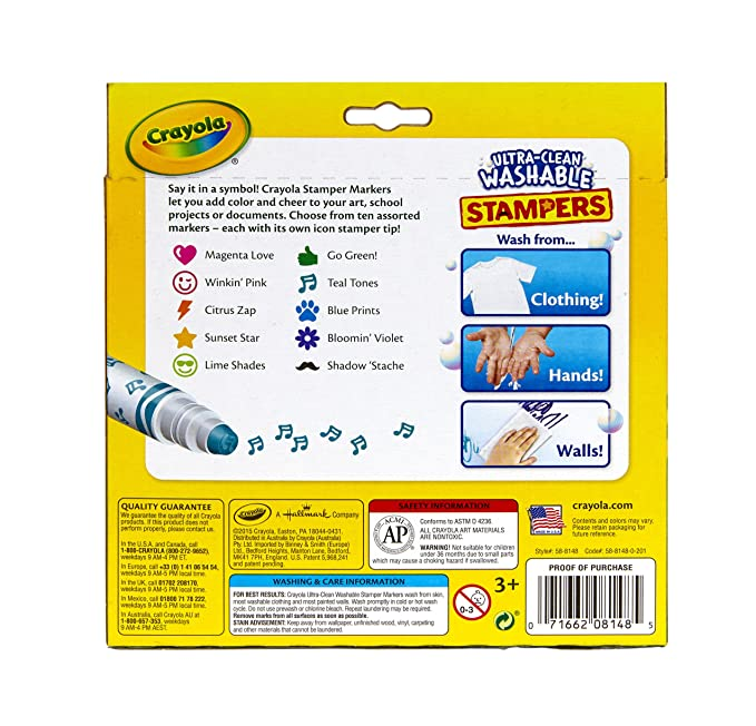 Crayola 10-Count Ultra Clean Expression Stamper Markers: Amazon.com ...