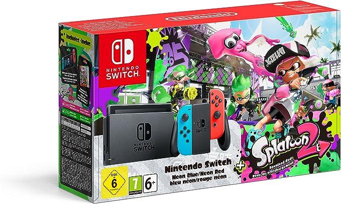 Nintendo Switch - Consola color Azul Neón/Rojo Neón + Splatoon 2 ...