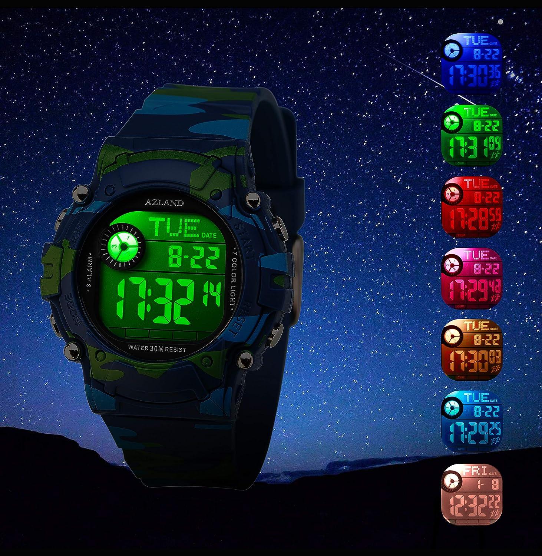Azland 7 Colores Intermitente, 3 alarmas de múltiples recordatorio Deportes niños Reloj de Pulsera Impermeable niños niñas Digital Relojes Camuflaje: ...
