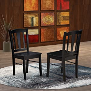 East West Furniture DLC-BLK-W Dining Chairs, Regular