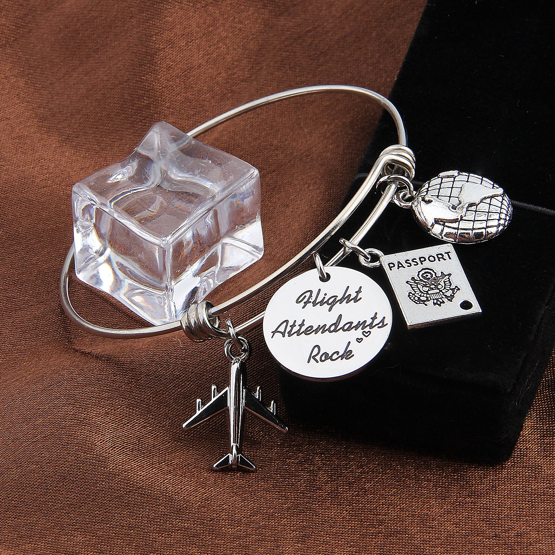 MAOFAED Travel Bracelet Remember the moments Traveler Bracelet Gift for Pilot flight attendant Trip Jewelry