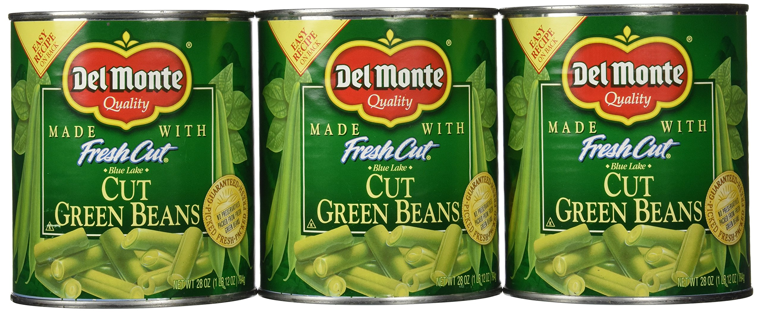 Del Monte Cut Green Beans, 28 Ounce (Pack of 6)