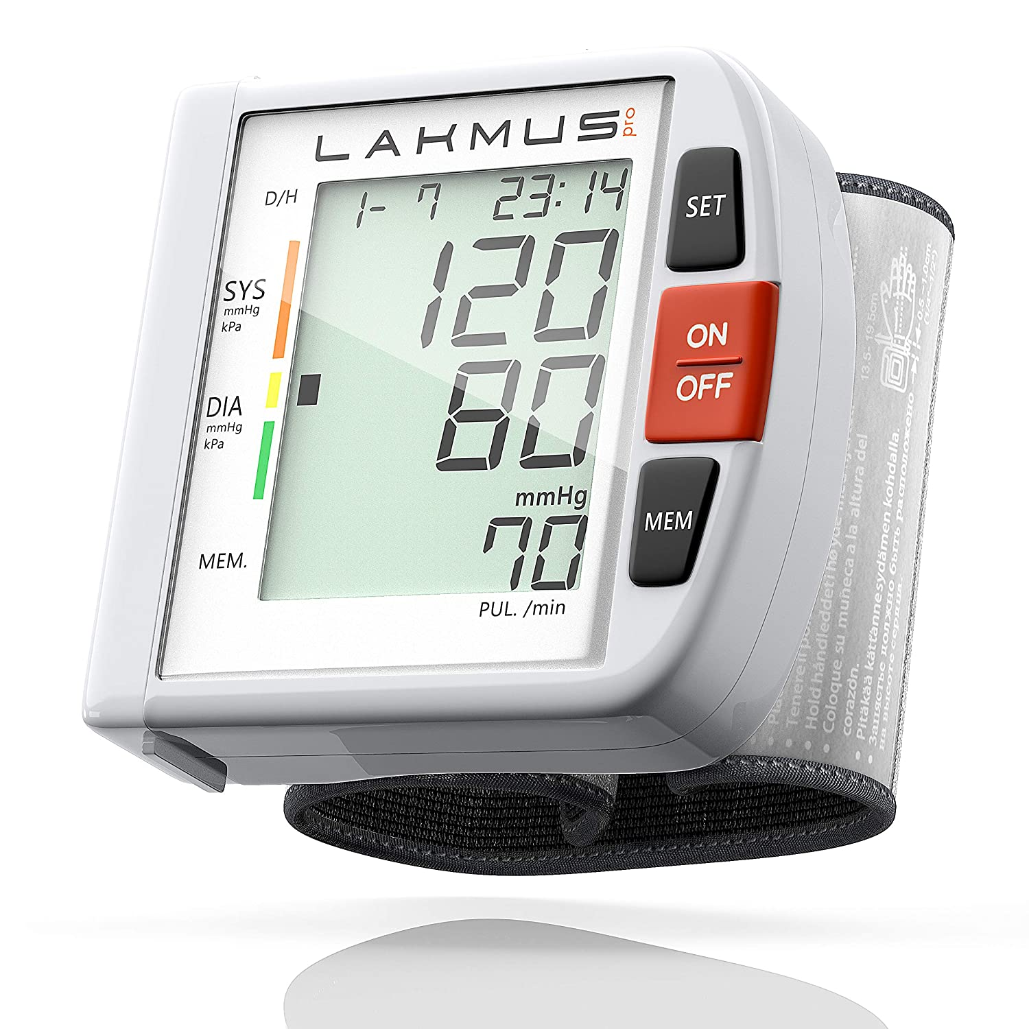Lakmus Blood Pressure Monitor Cuff Wrist – Digital BP Monitor FDA Approved – Fully Automatic Accurate Wrist Blood Pressure Monitor for Home – Wrist BP Machine with Large LCD Display Carrying Case 2AA