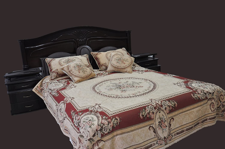 Tache 5 Piece Chenille Woven Medallion Red Burgundy Garden Quilt Bedspread Set, King/California King
