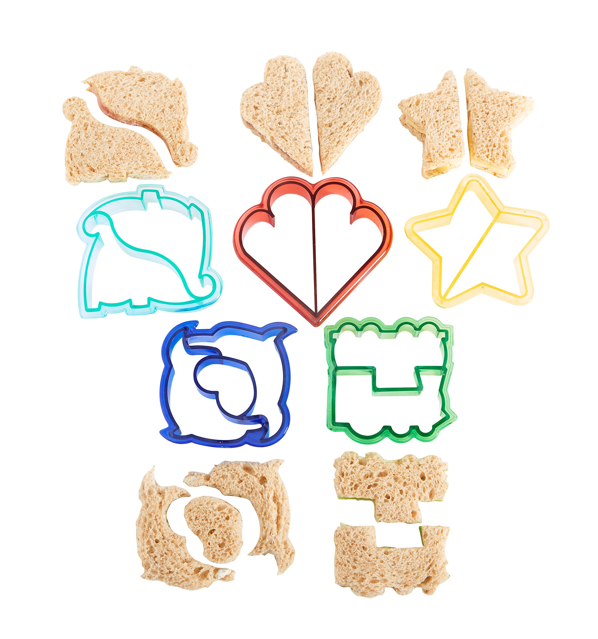 VonShef Fun Cookie Cake and Sandwich Cutter Shapes for Kids, Set of 5 Shapes Dinosaur, Dolphin, Heart, Star and Train, Multi Colored, 5pc by VonShef (Image #8)