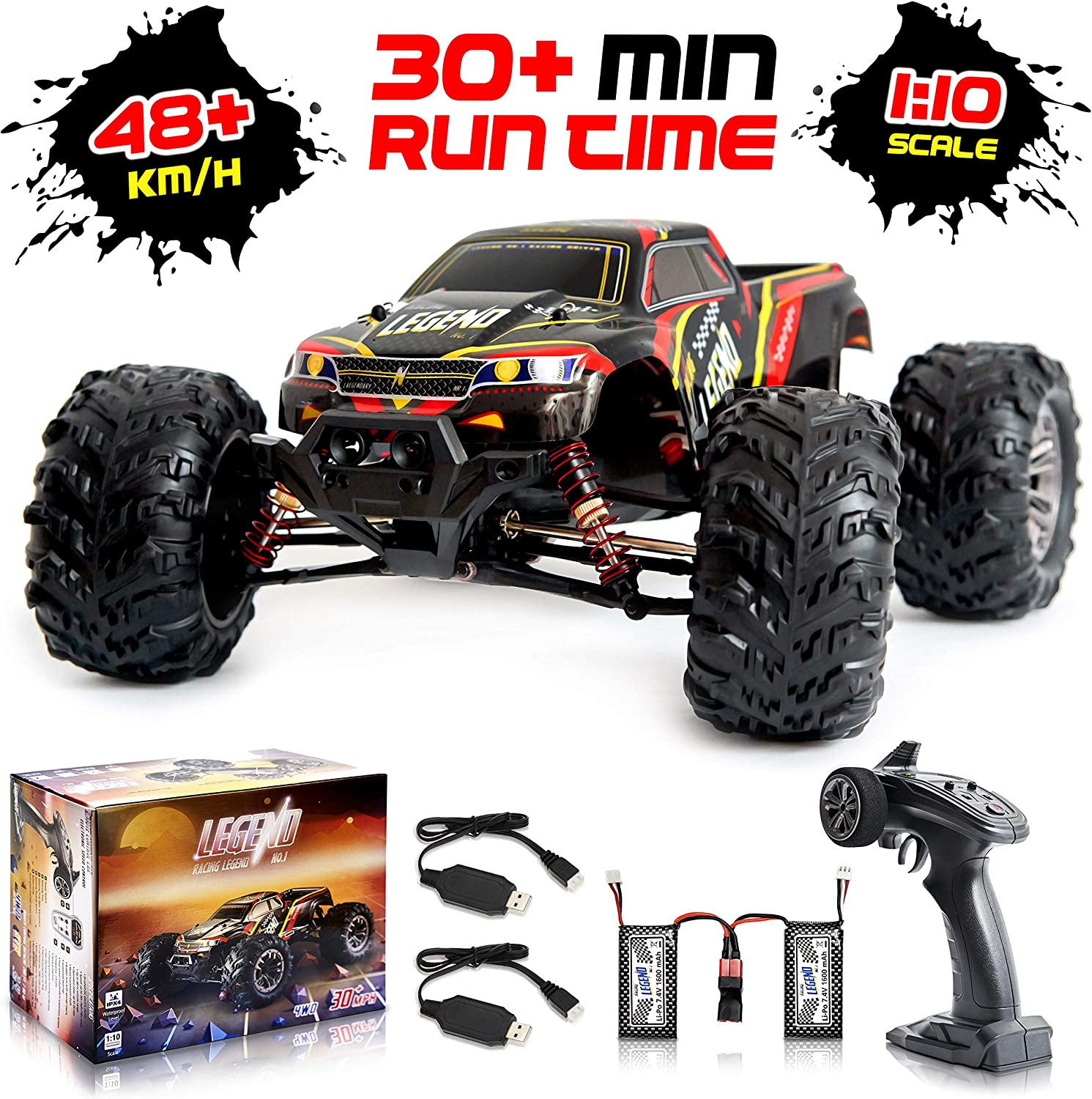 1:10 Scale Large RC Cars 48+ Kmh Speed - All-Terrain Waterproof Toys Trucks for Kids and Adults