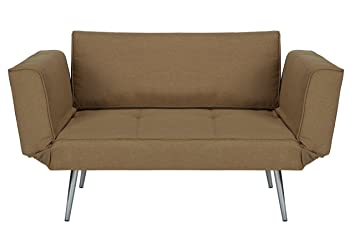 dhp euro sofa futon loveseat with chrome legs and adjustable armrests   tan amazon    dhp euro sofa futon loveseat with chrome legs and      rh   amazon