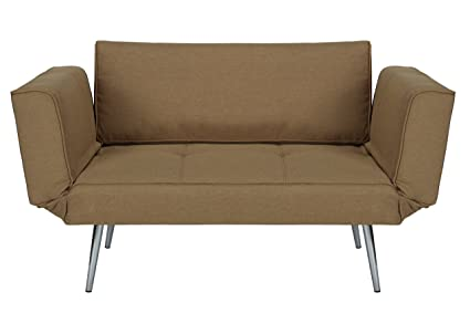 Charmant DHP Euro Sofa Futon Loveseat With Chrome Legs And Adjustable Armrests   Tan