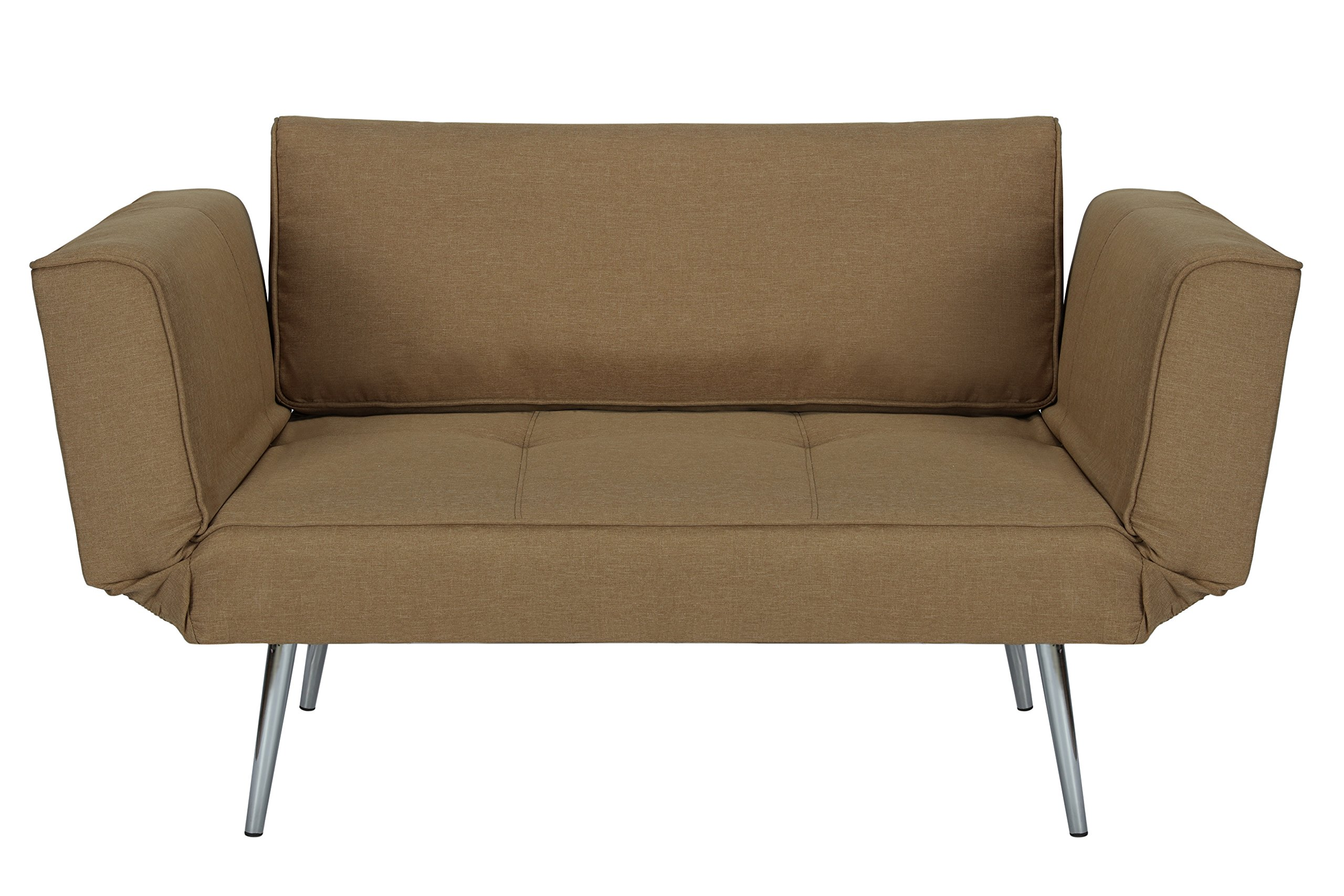 DHP Euro Sofa Futon Loveseat with Chrome Legs and Adjustable Armrests - Tan by DHP (Image #1)