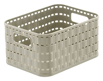 Rotho Country - Caja de almacenaje con efecto de mimbre, Beige, A6