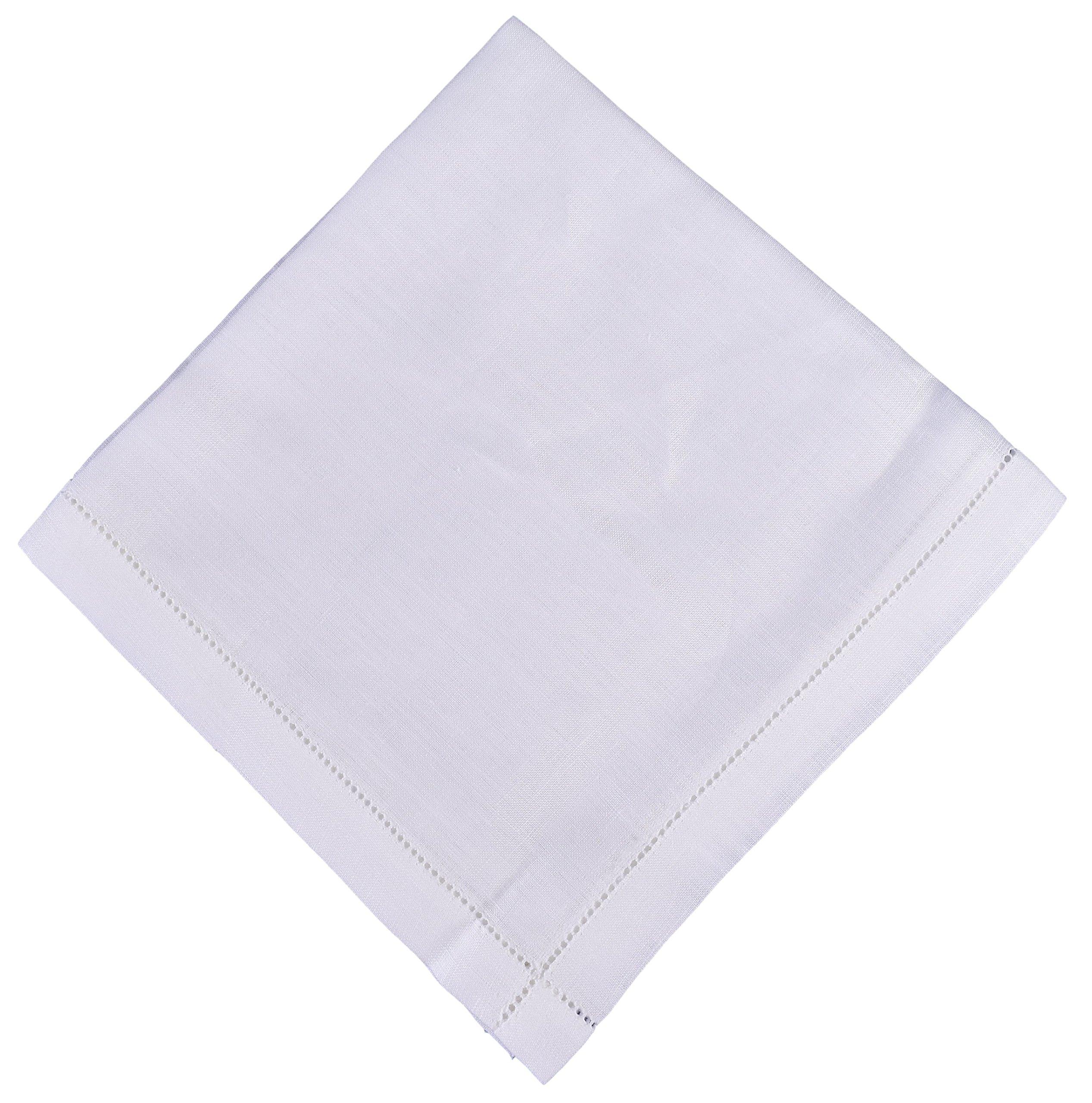 Thomas Ferguson - Gentlemen's Hemstitched Irish Linen Handkerchief, White - Pack of 3 BH133