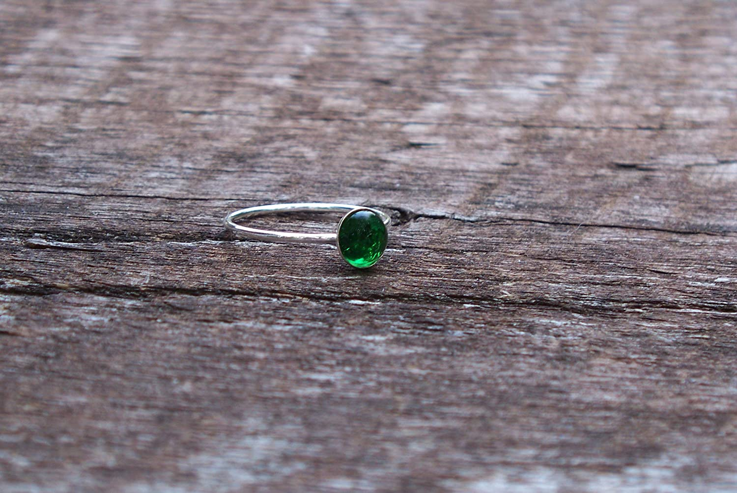 Recycled Vintage 1960s Green Beer Bottle Sterling Silver Stacking Ring