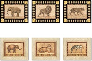 Popular African Safari Set Elephant Tiger Lion Set; Six 10x8 Inch Poster Print