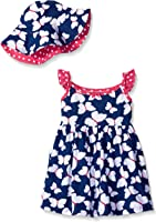 Gerber Toddler Girls' Two-Piece Sundress and Hat Set