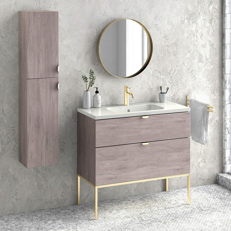 Amazon Com 40 Bathroom Vanity Cabinet Ceramic Sink Aspen W 40 X H 35 X D 18 In Rhd Weathered Oak Glossy Gold Kitchen Dining