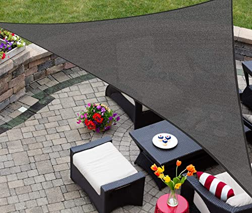 AsterOutdoor Sun Shade Sail Triangle 16' x 16' x 22.64' UV Block Canopy