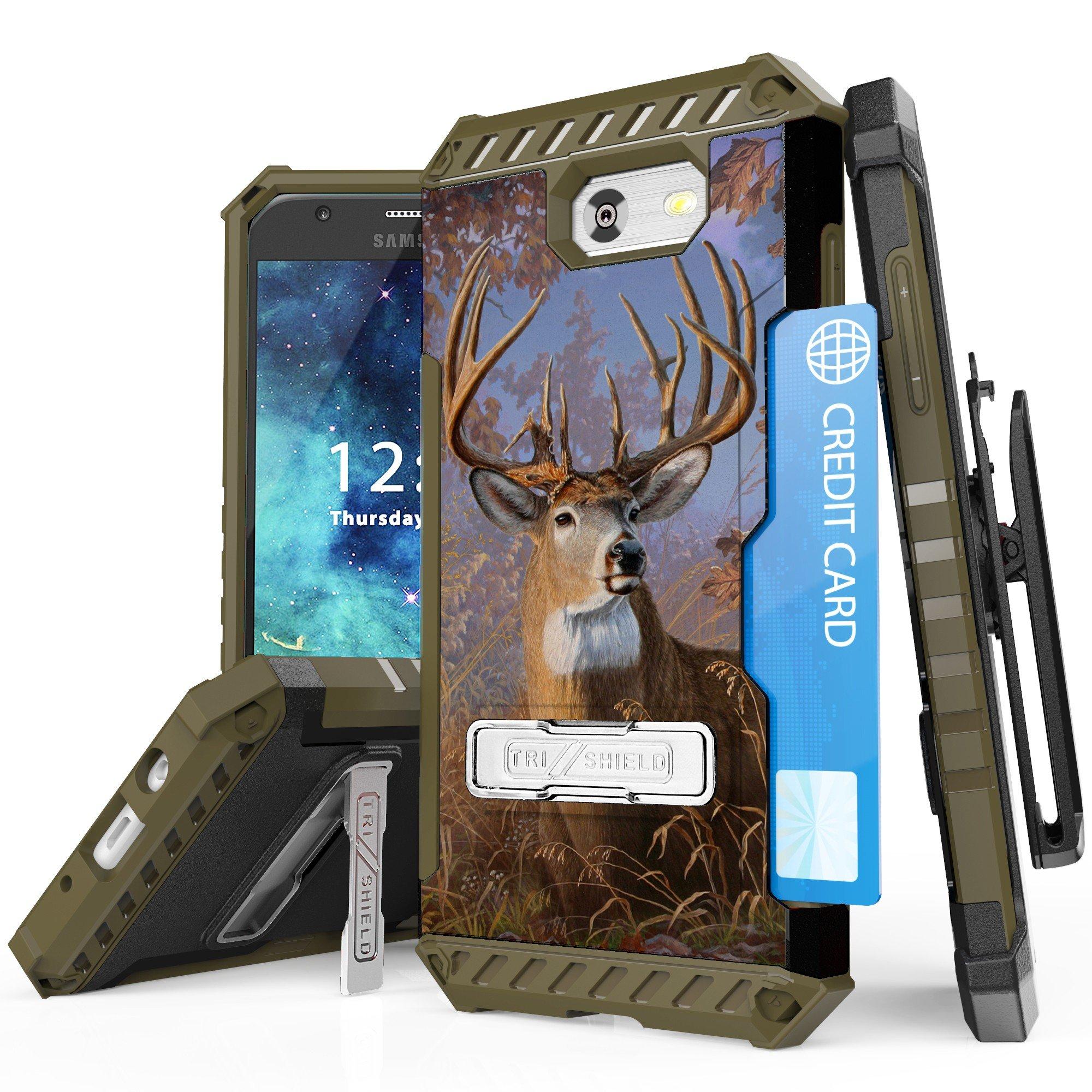 Samsung Galaxy J3 2017/Express Prime 2/Amp Prime 2/ Sol 2/J3 Emerge/ J3 Prime/J3 Luna Pro/ J3 Eclipse/ J3 Mission TRI-SHIELD RUGGED KICKSTAND CASE + BELT CLIP HOLSTER CARD SLOT (Majestic Deer)
