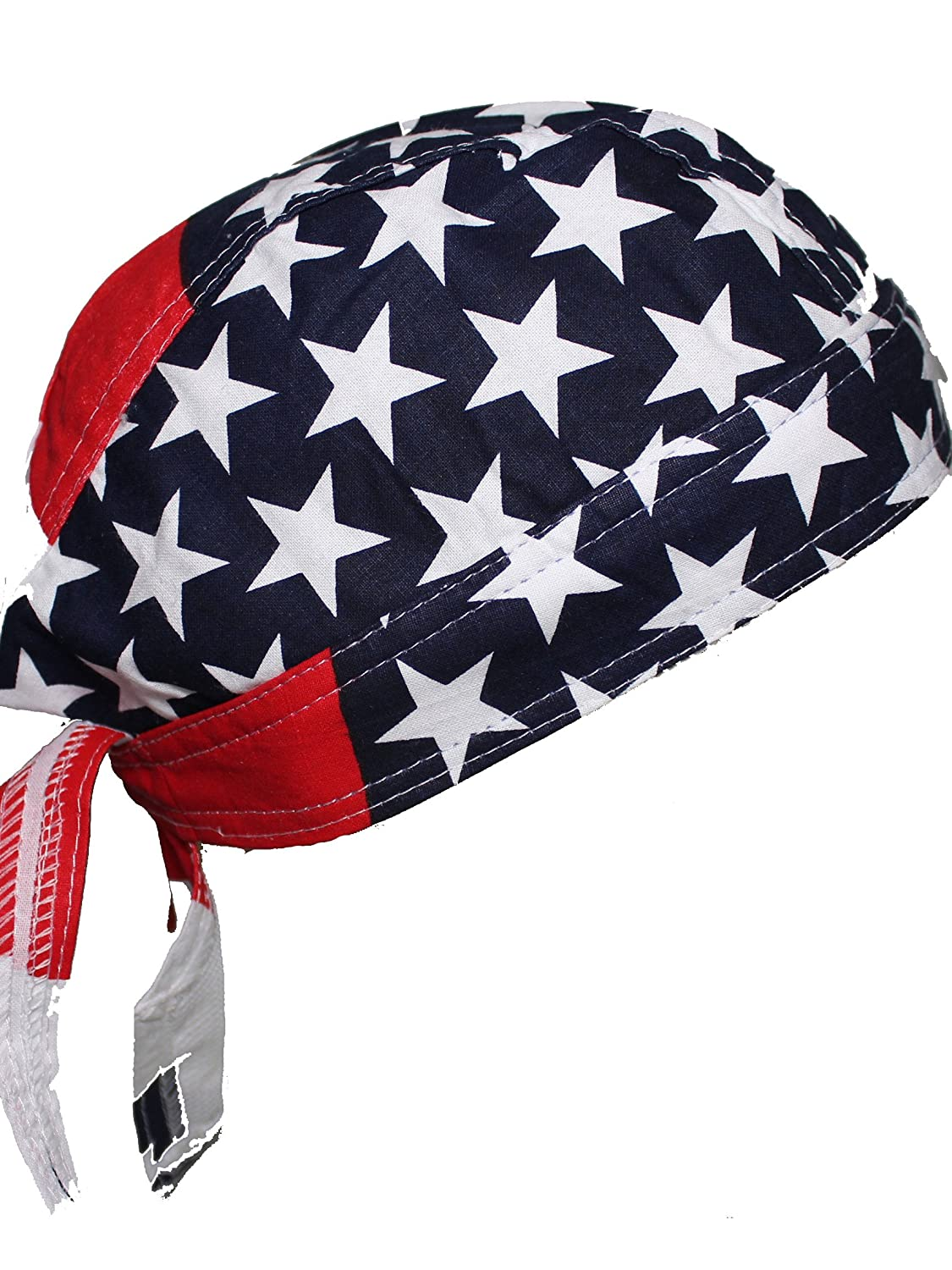 Set of 4 USA Food Service Skull Cap Head Wrap DO-RAG Chef Cook Medical Field  Red, White, and Blue B00VMOMQS2