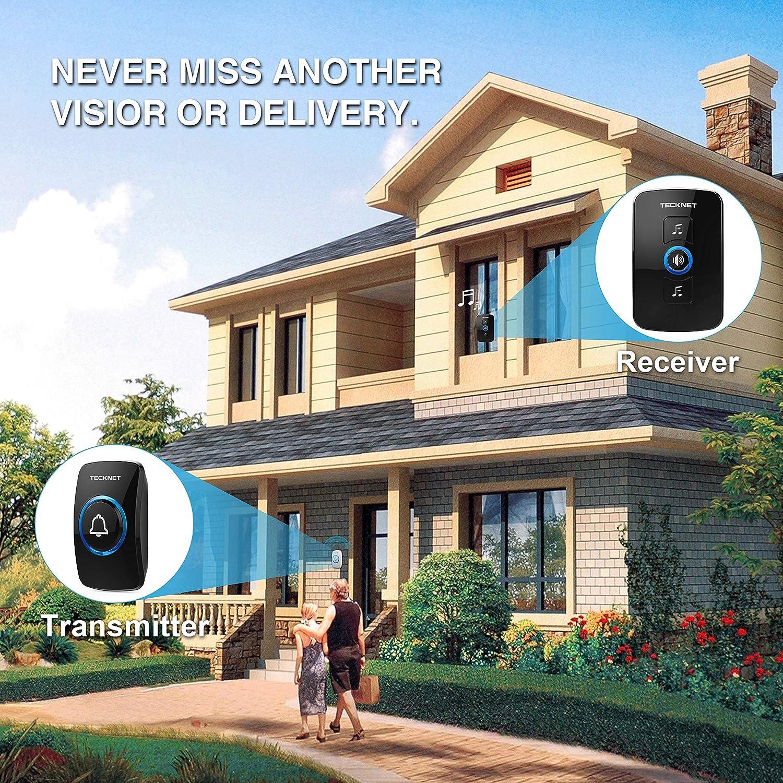 4 Niveles de Volumen Timbre de Casa Port/átil Resistente al Agua TeckNet Timbre inal/ámbrico Timbres para Puerta Plug-in sin Hilos a un Rango de 300m Indicadores LED 1 Receptor y 1 Transmisor