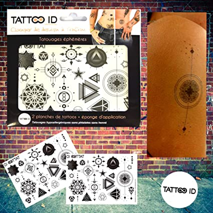 Tatouage Temporaire Ephemere Geometrique Rond Etoile Triangle Tattoo