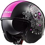 LS2 Helmets Spitfire Bobber Vintage style Open Face Helmet with sun shield Solid (Pink Muerte