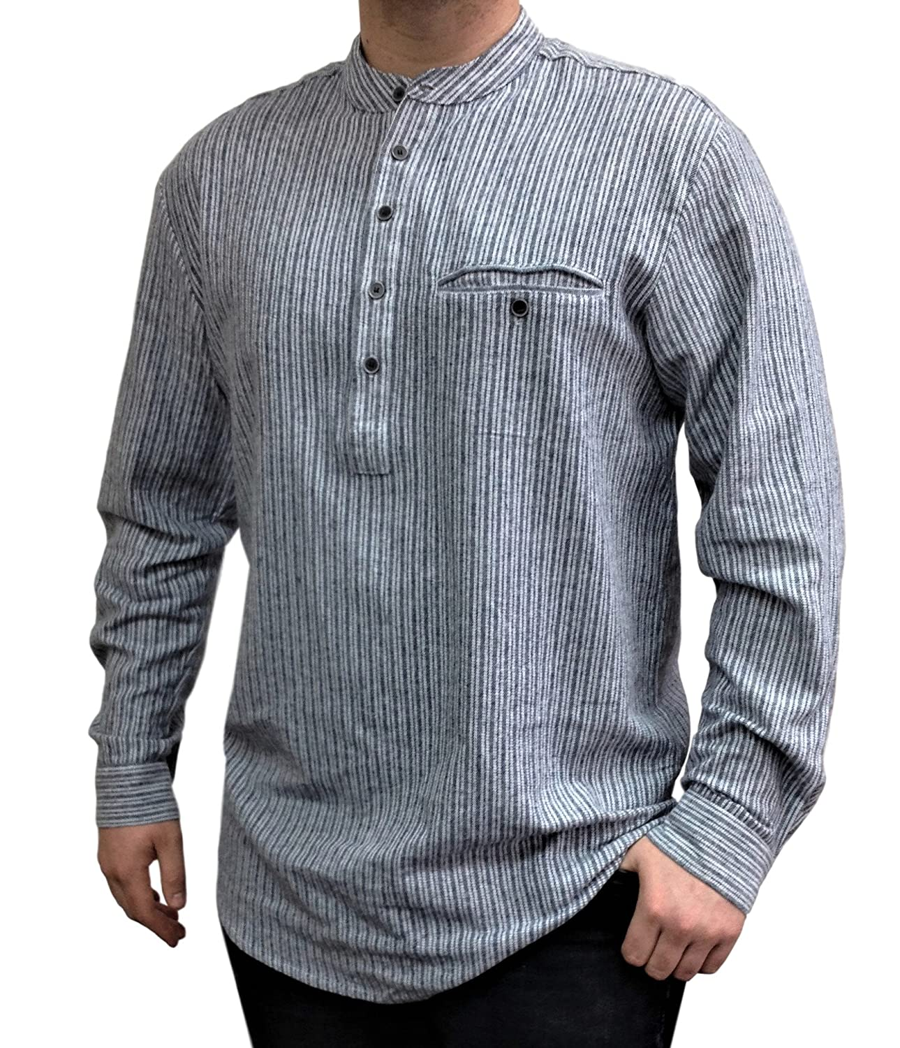 a2354895 100% Irish cotton flannel. Machine Wash. Do not tumble dry. Grandfather  shirt in classic color and style. Durable, soft, comfortable and warm
