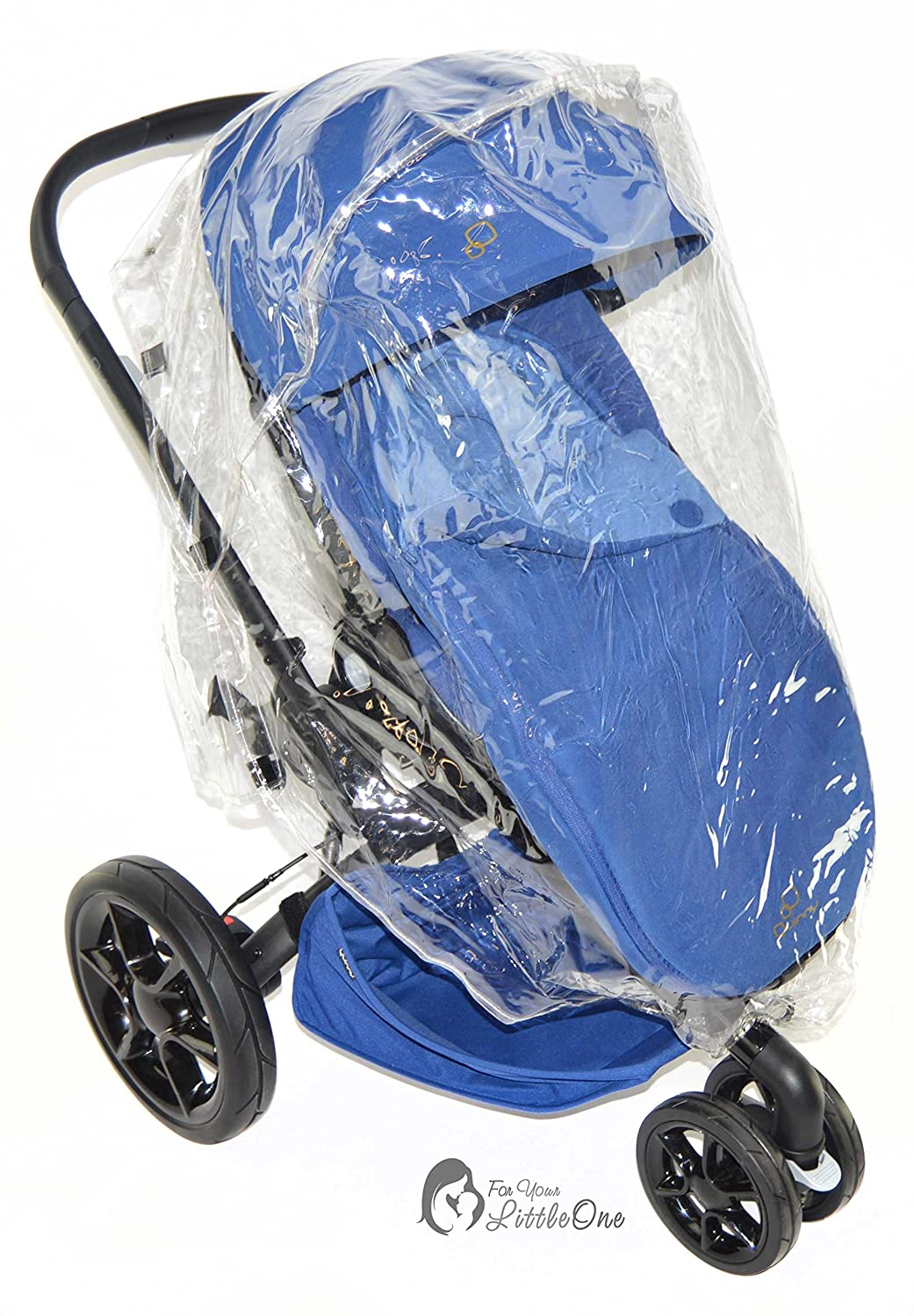 BABY  TODDLER STROLLER WATERPROOF CLEAR TRANSPARENT WITH BLUE TRIM RAINCOVER