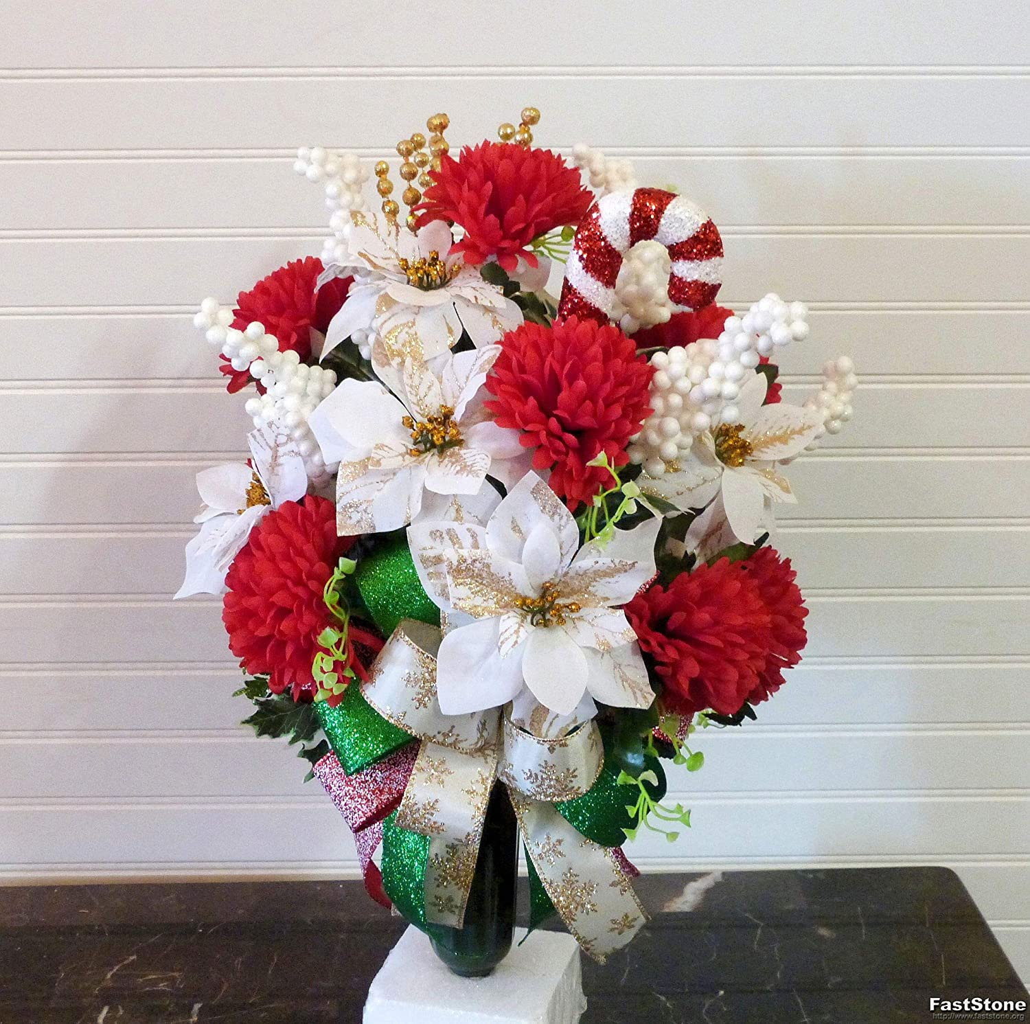 Christmas Cemetery Vase Arrangement Cemetery Flowers With Poinsettias And Candy Cane Christmas Grave Flowers Artificial Flora