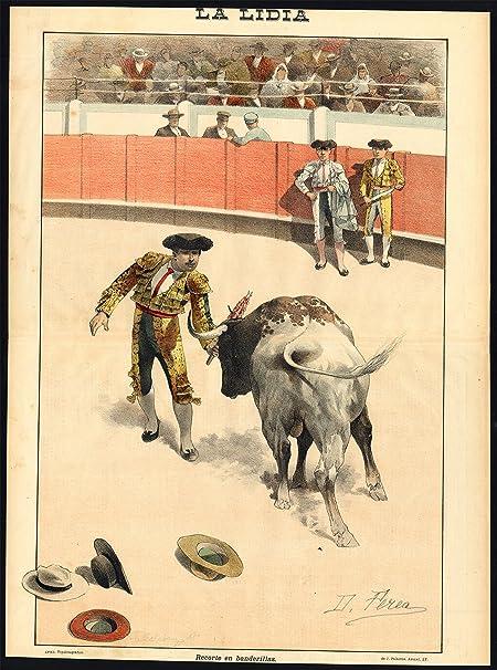 Impresión antigua - Las corridas de toros-tauromachia-arena-españa-torero - PL. 9 de la Lidia-1893: Amazon.es: Hogar